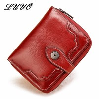 LUYO Genuine Real Leather Oil Wax Small Female Girls Wallet Women Card Holder Womens Wallets And Coin Purses Holders Handy Bag