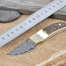 Damascus steel blade Outdoor Camping knife Portable Survival Hunting knives with leather sheath knives fixed EDC knife gift