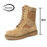 WEIQIAONA Women Shoes Couple Shoes Leather Martin Boots Desert Boots Fashion Classic Outdoor Combat Boots Military