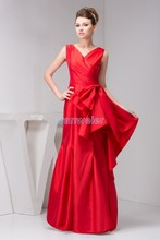 free shipping 2013 arrival hot fashion design cap sleeve V-neck pleat real pictures custom size/color long red bridesmaid dress