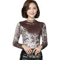 Autumn Winter Red Velvet Tops Womens Long Sleeve Black Velvet Tops Blouse Half Turtleneck Basic Warm
