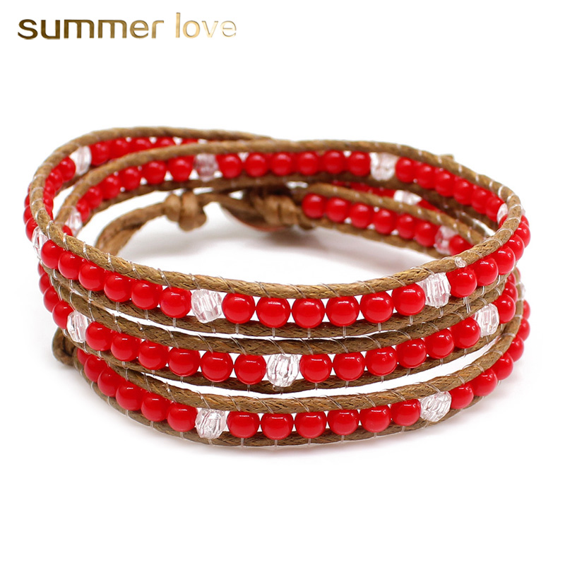 Handmade Weave 3 Layer Multilayer Rope Leather Bracelets For Men/Women Acrylic Crystal Beads Bracelets Wristband Jewelry Gifts