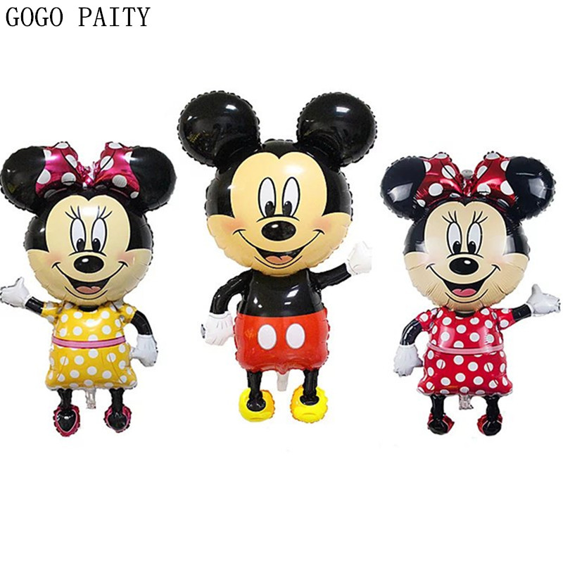 GOGO PAITY Minnie Mickey foil balloons red Bowknot standing mouse Polka dot wedding birthday party decor supplies globos