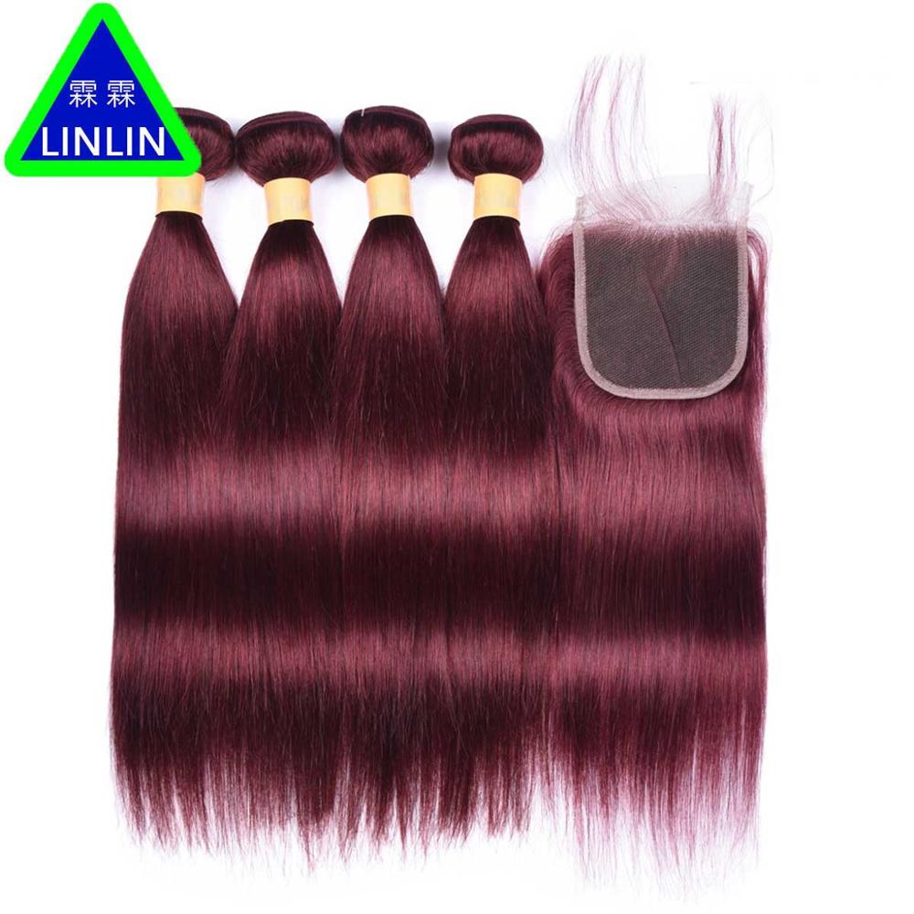 LINLIN Pre-Colored Indian Closure 99J Red Wine Human Hair 4 Bundles With 4*4 Lace Closure Free/Middle/Three Part Hair Rollers new summer style brazilian human hair blue purple 2 3 4pcs lot get a free 13 4 lace frontal closure to match your bundle
