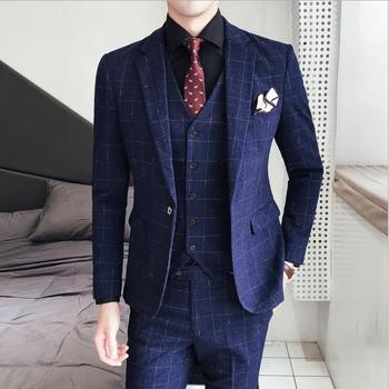 (Jacket+ Pants+Vest) British Plaid Slim Single Button Business Formal Suits Groom Wedding Party Blazers Suits Set For Men