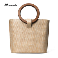 Moonooda 2018 Square Straw Bag Beach Summer Holiday Shoulder Bag Crossbody Bags Luxury Handbags Women Bags Design Ladies Bucket