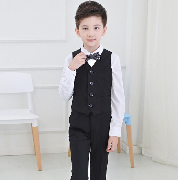 2016 Großen Jungen Weste Kleidung Anzüge Kinder Jungen Weste Freizeit Kleidung Kinder Hochzeit Prom Anzüge 4 Stücke (weste + Hemd + Hose + Tie) 100% Garantie