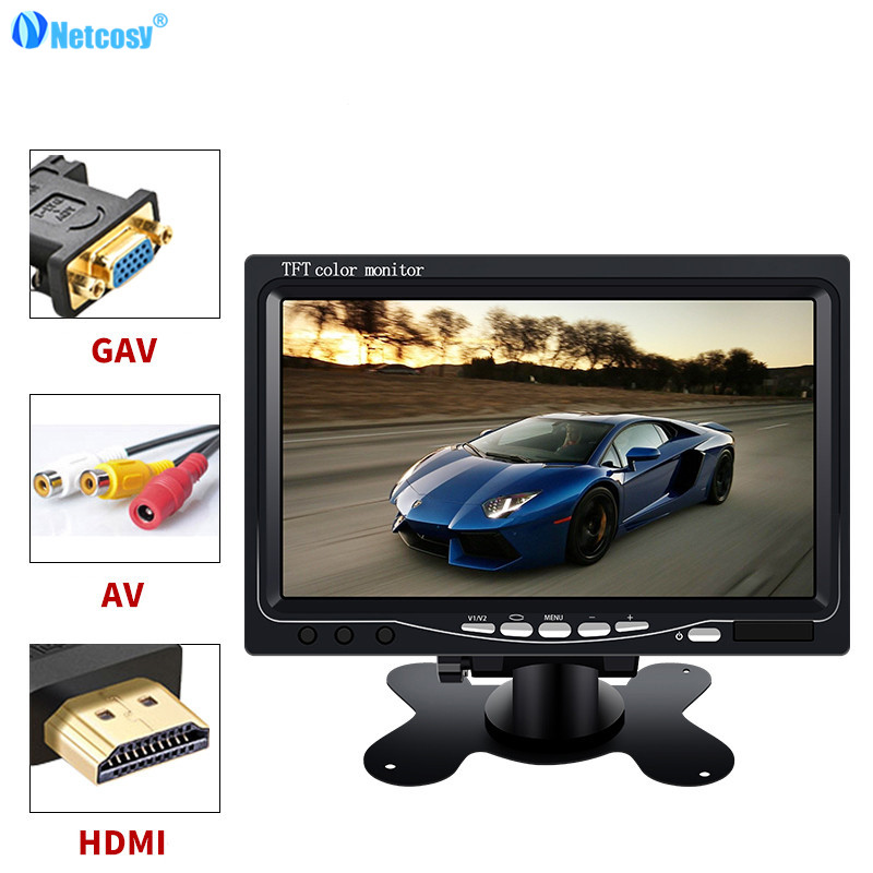 Netcosy AV/VGA/HDMI LCD Monitor 7 TFT Color Monitor For TV for Raspberry Pi 3 & LCD remote & Cable & Holder stand aputure digital 7inch lcd field video monitor v screen vs 1 finehd field monitor accepts hdmi av for dslr