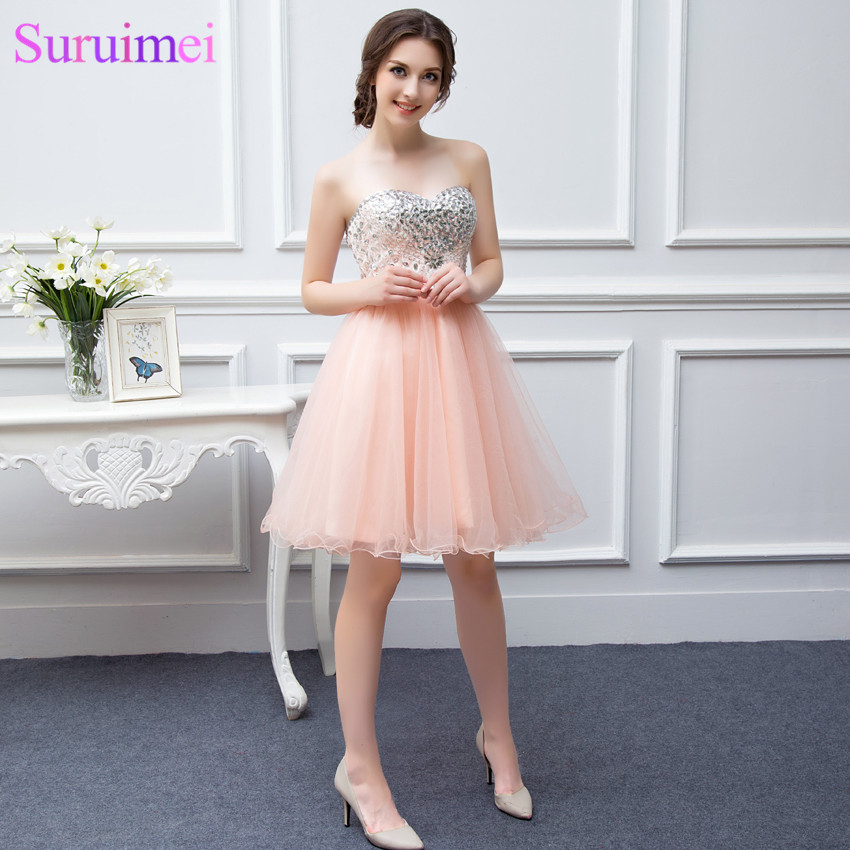 Best Selling Girls Cheap Party Gown Vestidos De Fast Shipping Tulle Beaded Knee Length Short Peach Coral Homecoming Prom Dresses