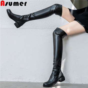 ASUMER size 34-40 fashion genuine leather boots round toe zip knee high boots black med heels shoes women autumn winter boots
