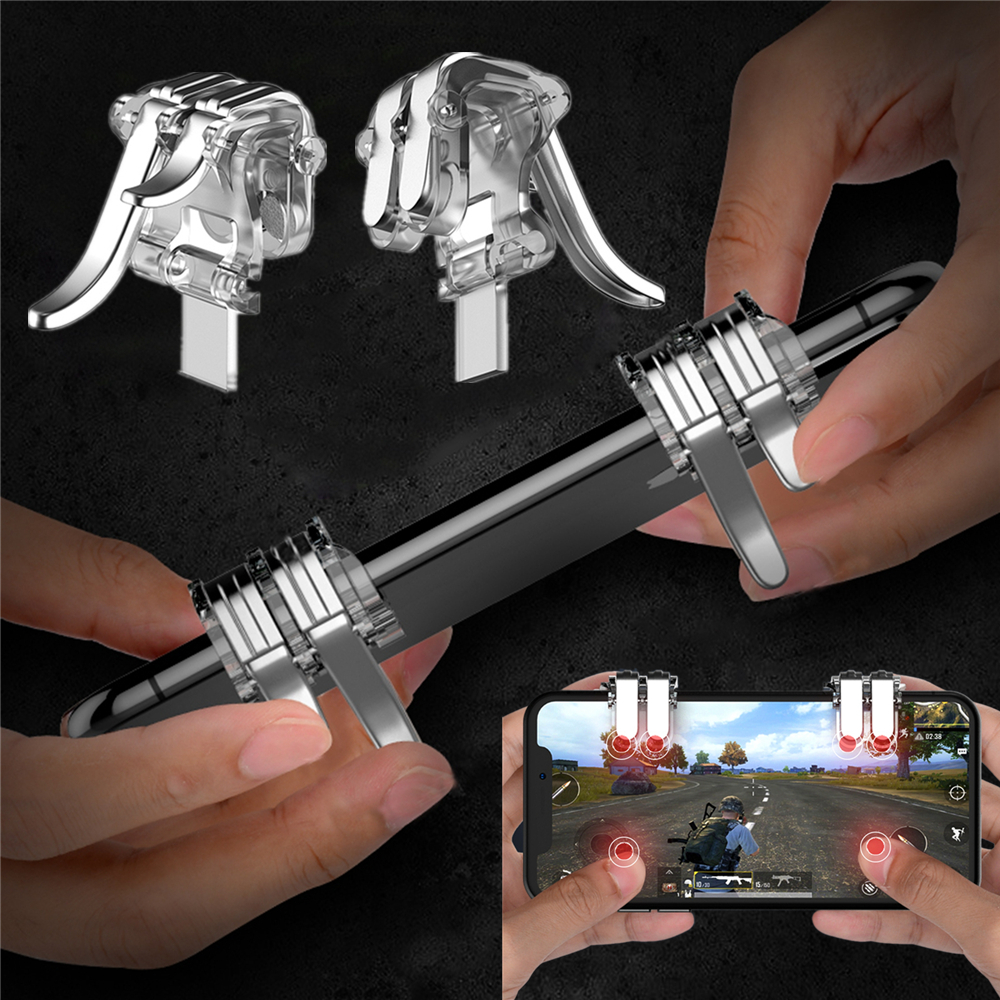1Pair W6 New Concept Six-finger Linkage PUBG Phone Gaming Trigger L1 R1 Shooter Controller Mobile Game Fire Button Aim Key