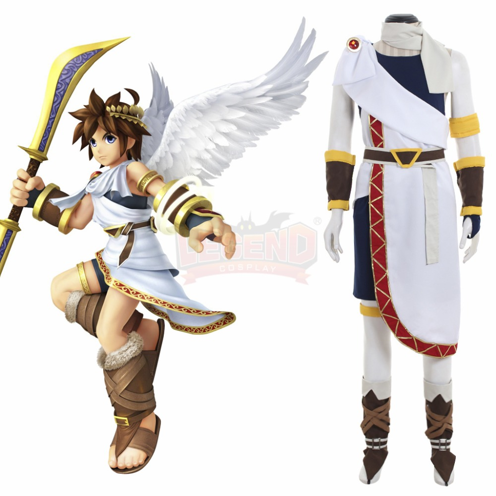 Anime Kid Icarus Uprising Pit Cosplay Costume full set  Outfit Boots halloween Man costume White Black Custom Made