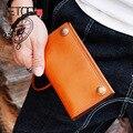 Винтажный Мужской кошелек AETOO  длинный кожаный кошелек ручной работы в Корейском стиле  модная мужская ручная сумка с защитой от кражи