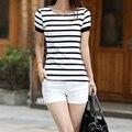 1 Unid Blanco Mujeres de Moda las Camisetas de Las Mujeres Camisa A Rayas Rayas Mujeres Camiseta Camisetas Top Camisetas Tee Shirt Femme Mujer