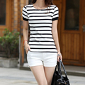 1Pc White Women's Fashion T-shirts Striped Women Shirt Tee Shirt Femme Striped Female T-Shirt Women T-shirts Top Camisetas Mujer