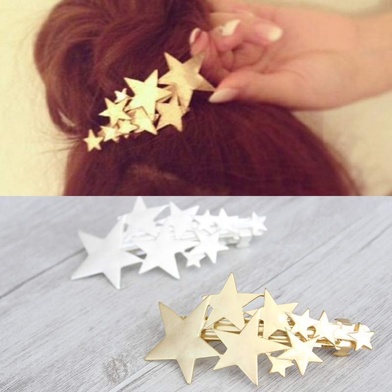 Fashion Women Girl Romantic Cute Star Barrettes Frosted Golden Silvery Hair Clip Gift Hair accessories
