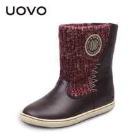 UOVO Woolen Fabrics Girls Boots Mid Calf Children Shoes Booties Winter Fashion Snow Boots For Kids
