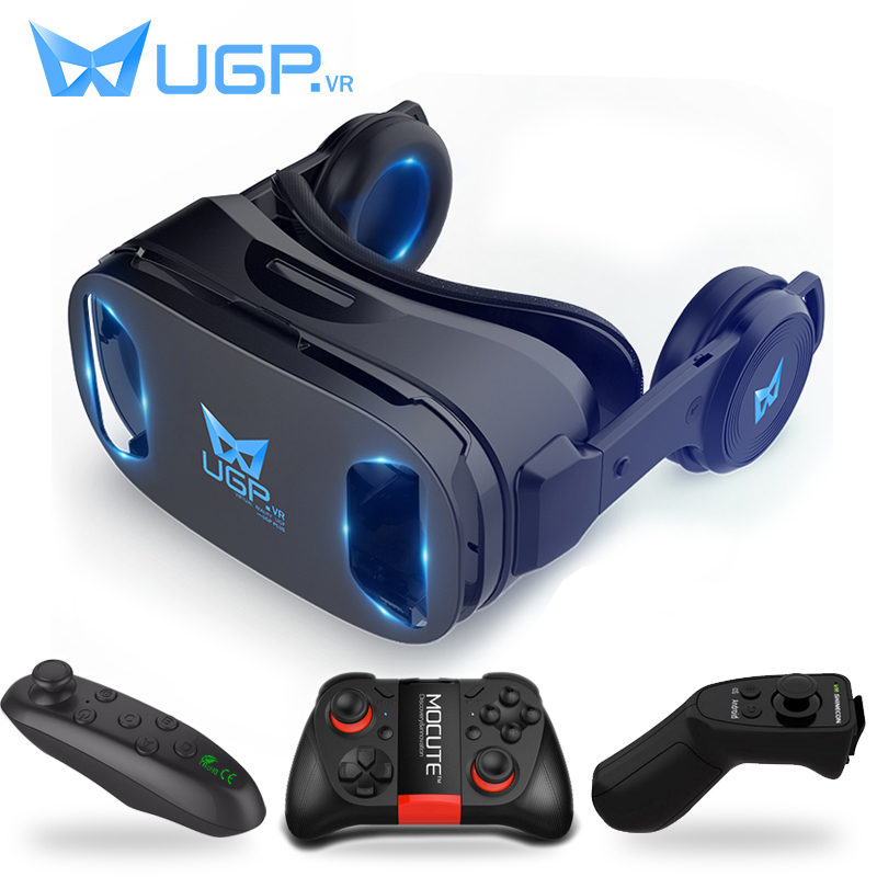 UGP U8 VR Glasses 3D Headset version IMAX Virtual Reality Helmet 3D Movie Games With Headphone 3D VR Glasses optional controller image