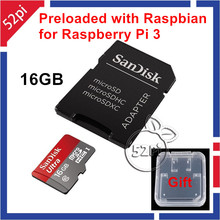 2016 New Arrival Raspbian OS for Raspberry Pi 3 Model B preloaded on SanDisk 16GB Class 10 SD Card