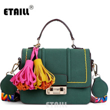 ETAILL Nubuck Pu Leather Crossbody Tassel Bags for Women Small Flap Top Handle Messenger Bags with Colorful Wide Shoulder Strap