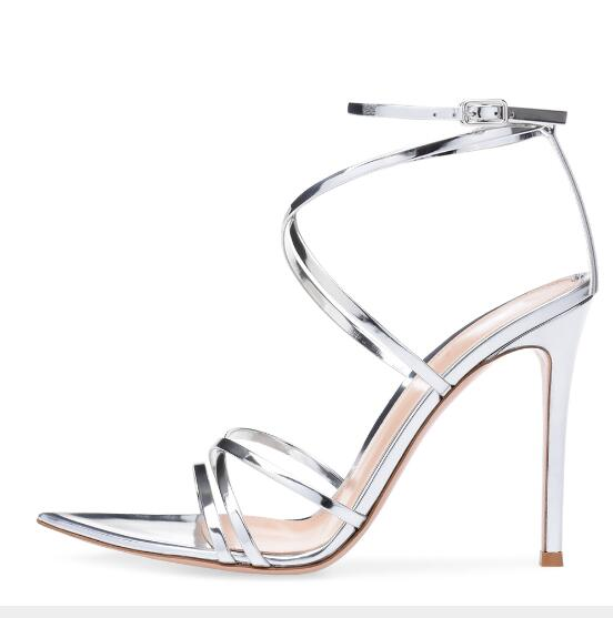 Newest Pointed Toe Stiletto heel Sandals Shoes Woman Mirror Buckle Rome High Heels Women Shoes Sexy Bridal Party Ladies Shoes womens fashion high heel strappy crossover barely there buckle party stiletto sandals shoes xd195