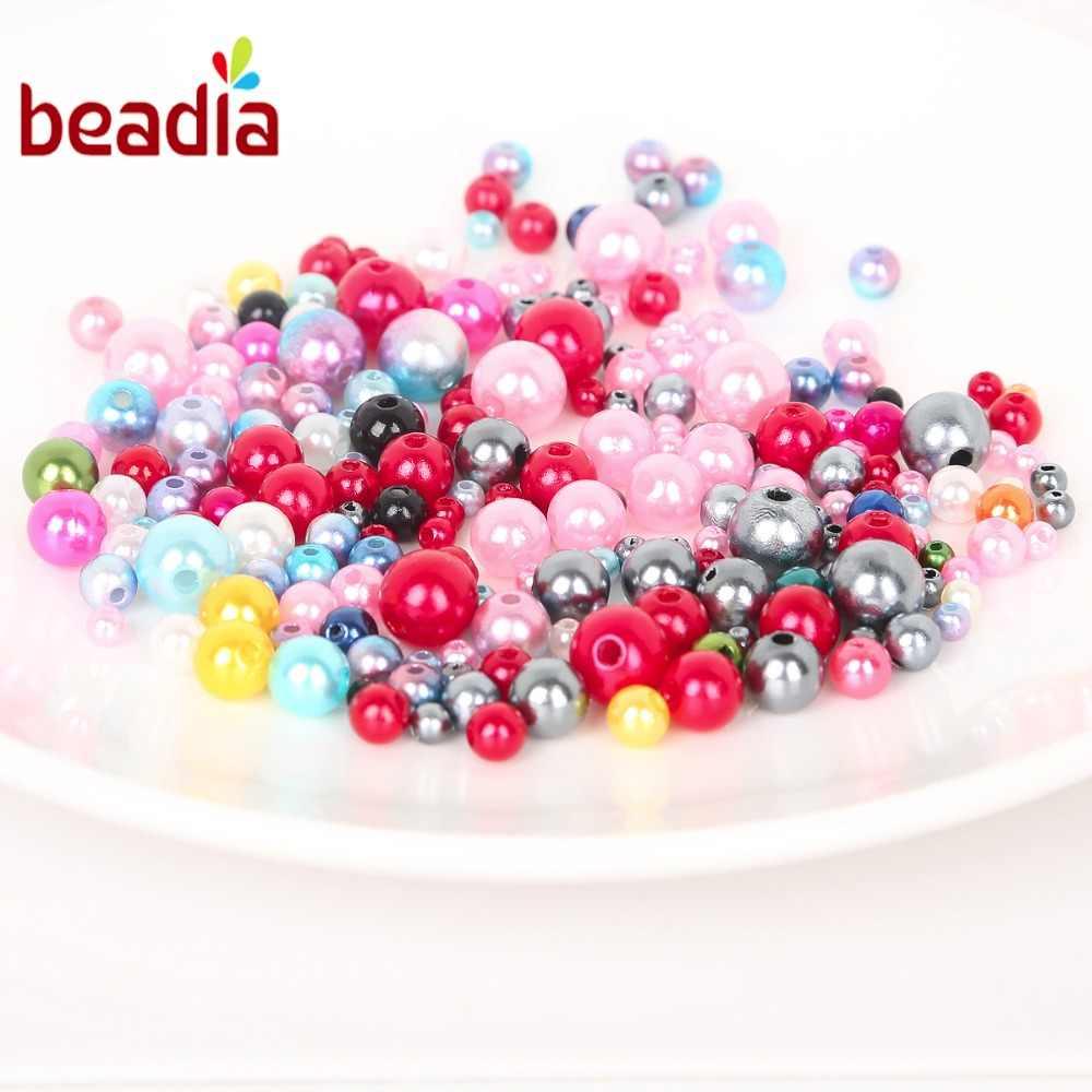 Circa 350pcs Rotonda AAA + Formato Misto 4-10mm Perline ABS Perle Branelli Allentati Per Handcarft Braccialetto fare Per Gioielli Fatti A Mano FAI DA TE