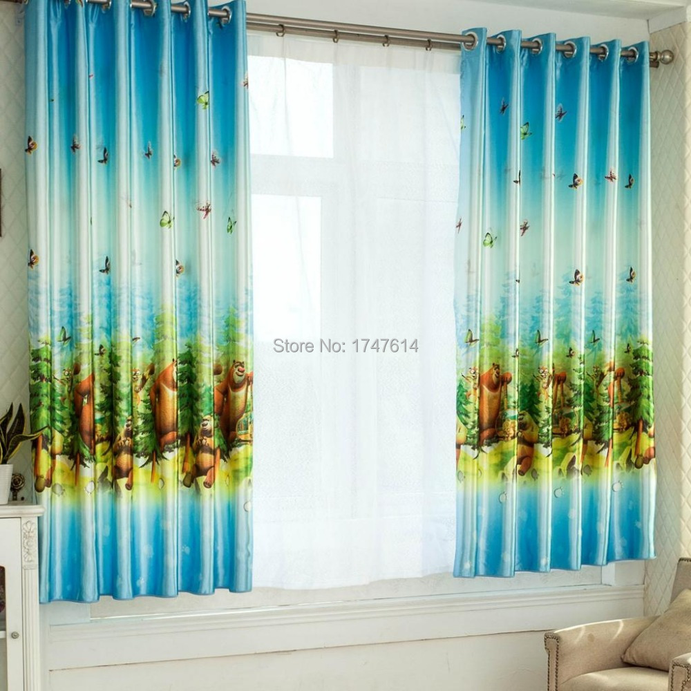 Curtain For Double Window Us 16 8 Hot Selling Children Curtains Double Sided Printing Short Curtains Half Shading Cloth Curtains Window Shades Curtain For Bedroom In Curtains