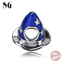 New Fashion 925 Original Blue Enamel Christmas Hat Pendant Pandora Charms Antique Beads Fit Authentic Bracelets Jewelry