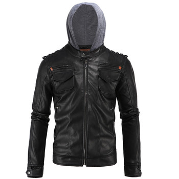 2019 High-end European and American Temperament Men's Leather Simple Motorcycle Hooded Large size Black Leather Size L-4XL