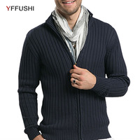 YFFUSHI 2018 New Men Cotton Sweaters Autumn Casual Stand Neck Slim Strip Fit Knitting Mens Sweaters Cardigans Warm Men Clothing
