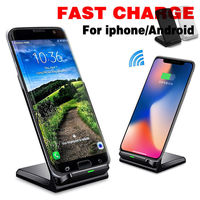 UGI Qi Wireless 2 Coils Leather Fast Charger Charging Stand Dock Pad For IPhone X 8