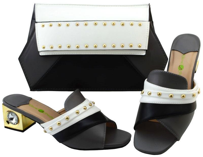 Мода в квадрате каблук тапочки обувь с сумочкой комплект YM002, высота каблука 5.8 см