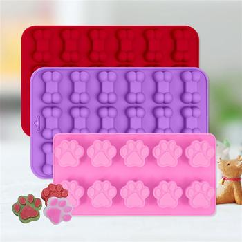 3PCS Puppy Dog Paw and Bone Ice Trays Silicone Pet Treat Molds Soap Chocolate Jelly Candy Mold Cake Decorating Baking Moulds