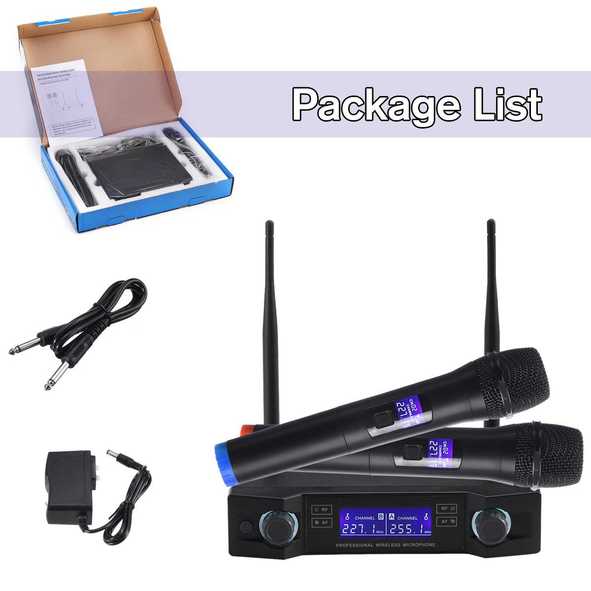 Système de Microphone sans fil UHF dynamique 2 canaux 2 poche karaoké Microphone cardioïde professionnel - 6