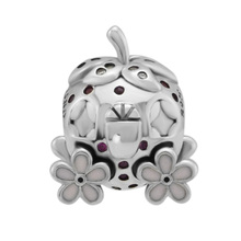 CKK Beads Fairytale Strawberry Coach Charm Fits Pandora Charms Bracelet 100% 925 Sterling Silver for Jewelry Making C050