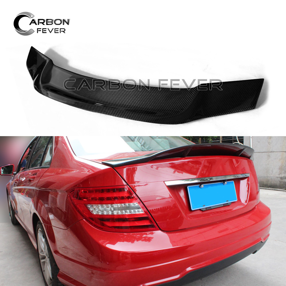 W204 Carbon Fiber Rear Trunk Spoiler For Mercedes W204 C class Sedan 2007 - 2014 C250 C300 C350 w204 c180 c200 c260 c300 carbon fiber car rear trunk lip spoiler wing for mercedes benz w204 c63 4 door 2008 2013 amg style