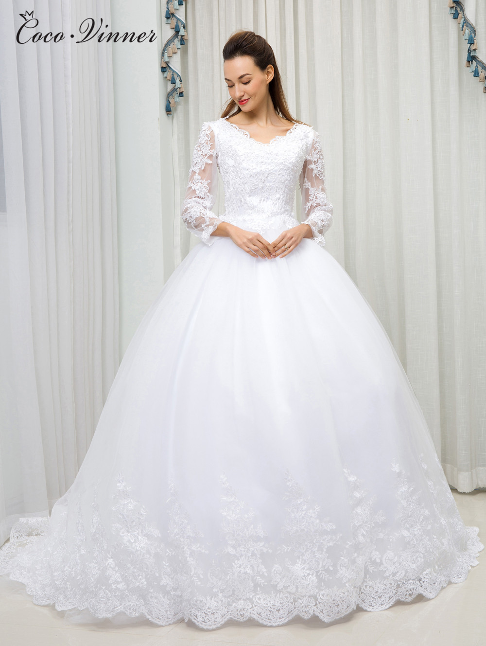 C.V Arab Ball Gown Princess Wedding Dress 2018 New Long Sleeve V neck Lace Up Pearls beads Lace Embroidery Wedding Gowns W0101