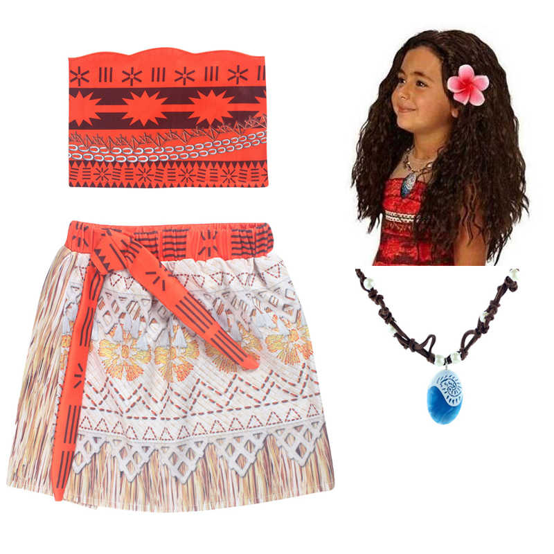 7c3ccd7cf1b Kids Girl Princess Party Dress Moana Adventure Elsa Clothing Girls Dress  Set with wig and Necklace baby Vaiana Cosplay Clothes