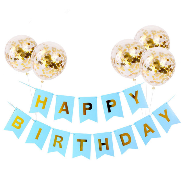1set para Feliz cumpleaños carta Banner globos de confeti dorados y rosas Niño de cumpleaños, globo de helio bebé regalos para fiesta de bebé