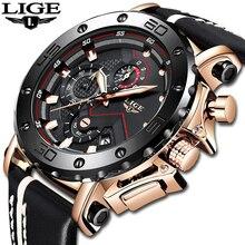 LIGE montres en cuir pour hommes, étanche, chronographe, à grand cadran, Date à Quartz, style militaire Sport, horloge, boîte