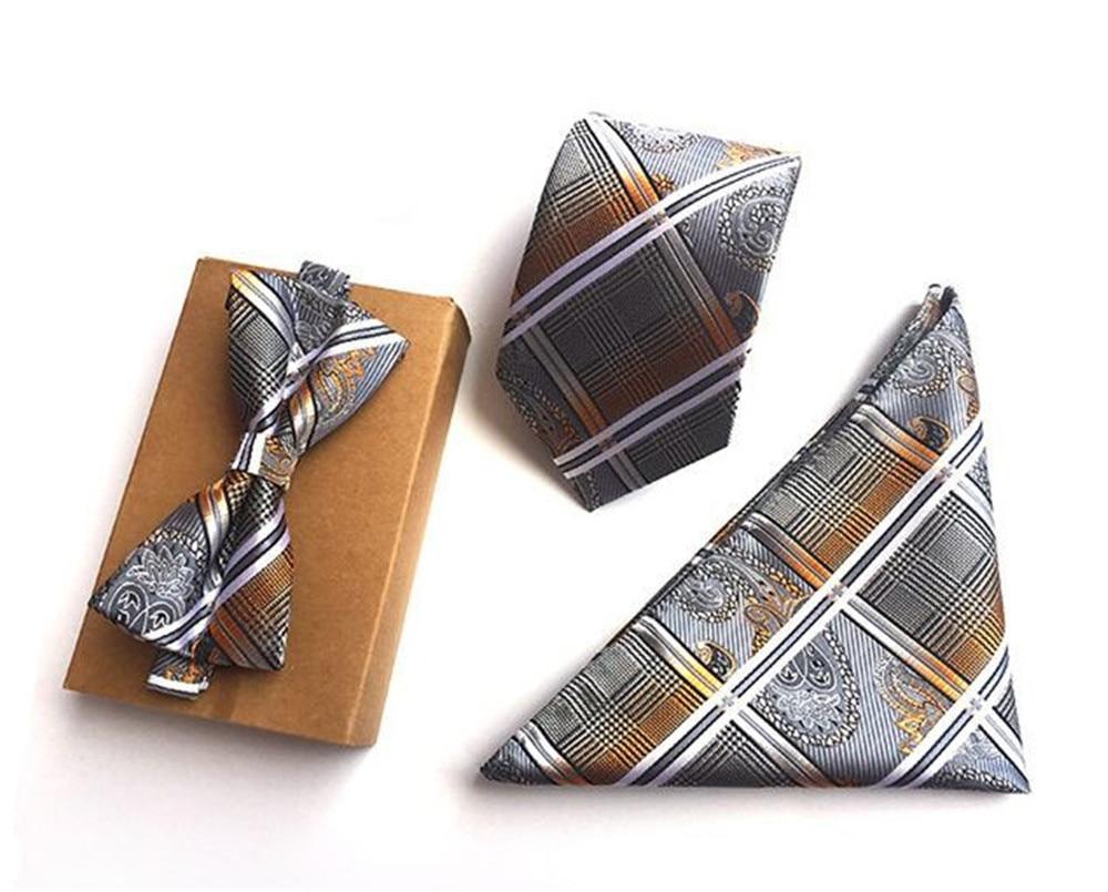 Generous Scst Brand Gravata Gold Paisley Print Mens Neckties Silk Ties For Men Handkerchief And Bow Tie With Match Tie 3pcs Set A054 Apparel Accessories