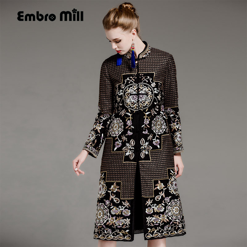 High-end autumn winter trench coat for women plus size windbreaker rayon vintage embroidery floral slim outerwear female M-XXXL