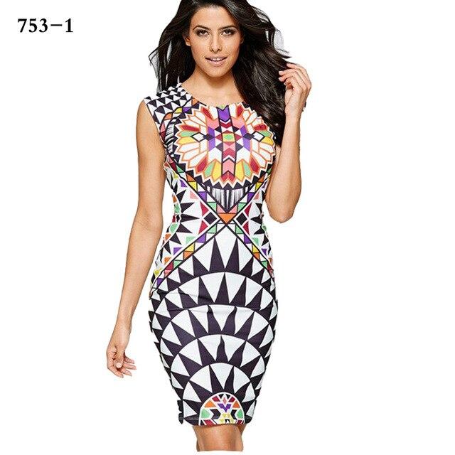 dd93e2e4 Women dress Elegant optical illusion patchwork floral printed 2017 vintage  slim work office business party bodycon dress