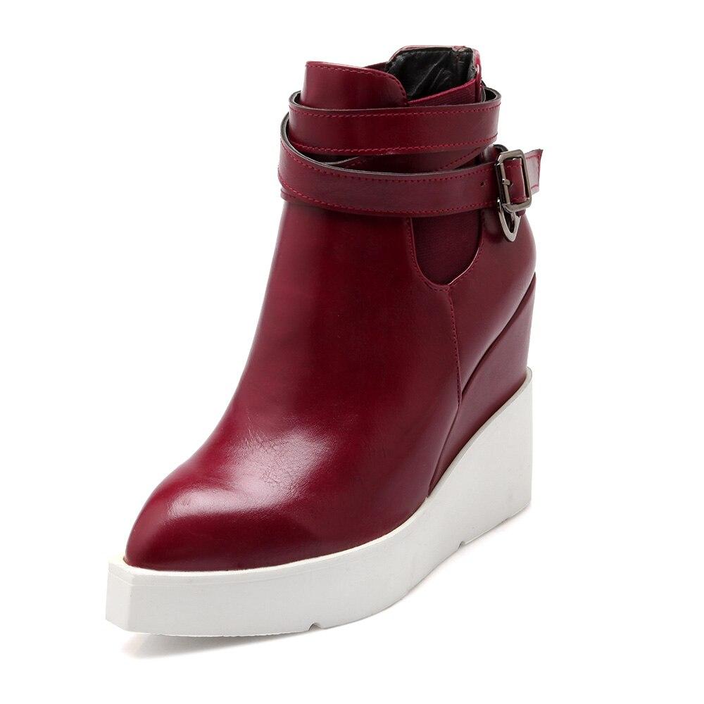 Nouveau Noir Chaussures jaune Bottes Arrivent Mode Jaune Cheville Martin Noir Talons Pointu rouge Femmes Compensées Rouge Bout Pu wv8Oy0Nnm