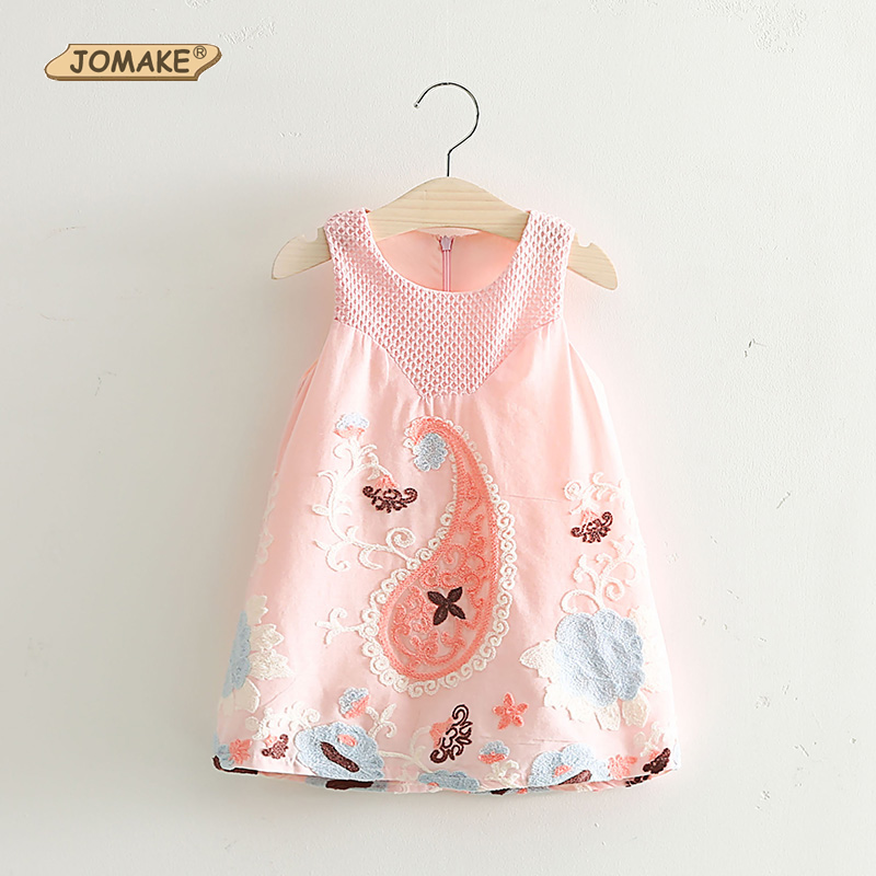 2016 Summer Style Girls Dress Embroidery Floral Vest Dresses Kids Clothes New Fashion Sleeveless Princess Dress Girls Clothing