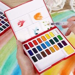 فابر كاستل 24/36/48 لون لون المياه الصلبة مجموعة أدوات رسم صندوق مع فرشاة الطلاء لون مشرق المحمولة المائية الصباغ مجموعة