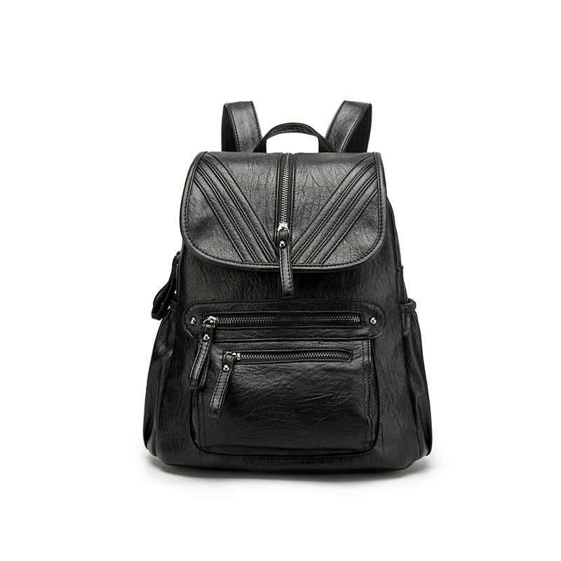Brown Black Women Backpack 100% Genuine Leather Practical Travel Bag Big Schoolbag For Girls Fashion Female Knapsack Laptop C590