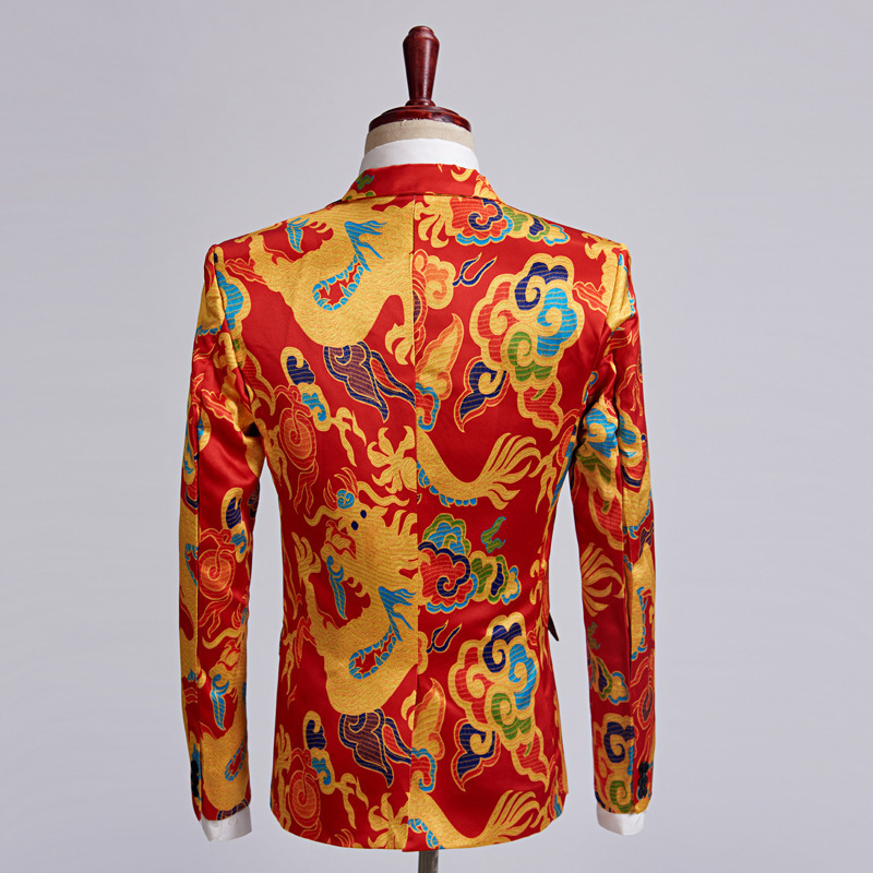 341fe971d407f Best Offer] PYJTRL Brand New Chinese Style Red Dragon Print Suit Men ...