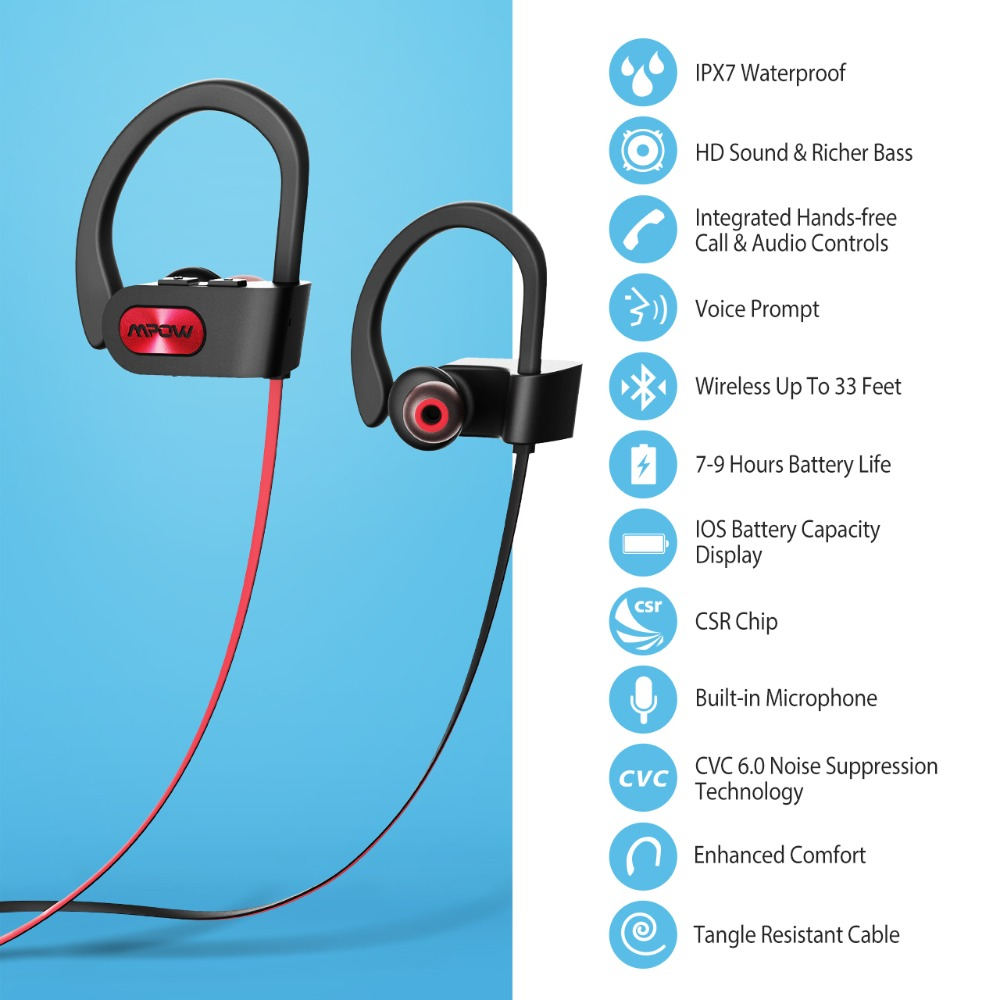 Mpow 088A Wireless Earphones Bluetooth Headphones with Mic Waterproof In-ear Sports Earbuds Noise Canceling Auricular Headsets (8)