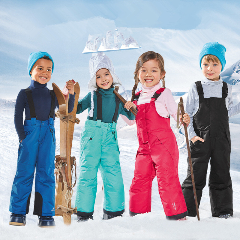 2018 New Outdoor 2T 3T 4T Boys Girls Ski Pants Children's Suspenders Cotton Pants Waterproof Windproof Warm Thickening Trousers стоимость